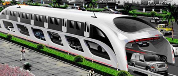 Imagen de prototipo de un autobús para el futuro en China