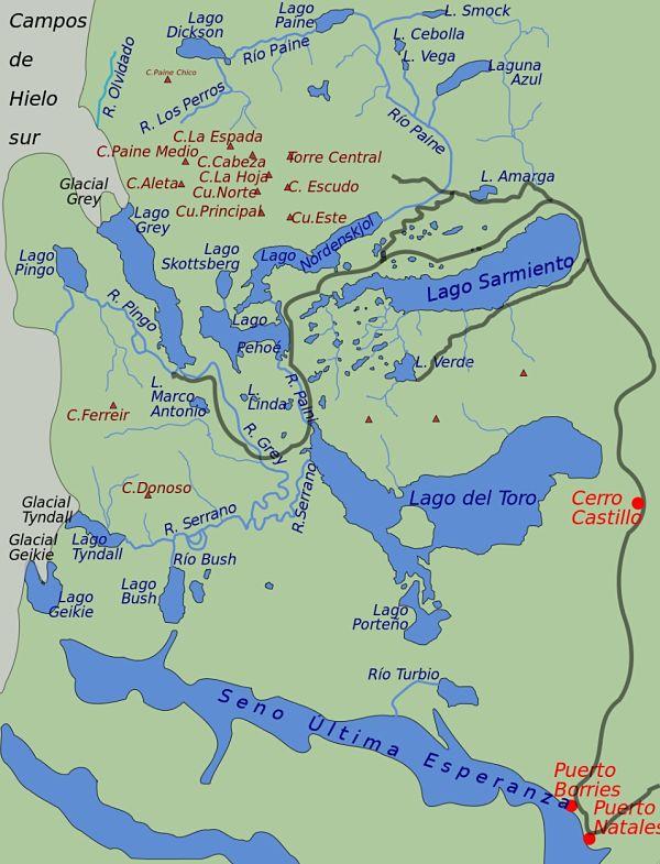 parque nacional torres paine mapa