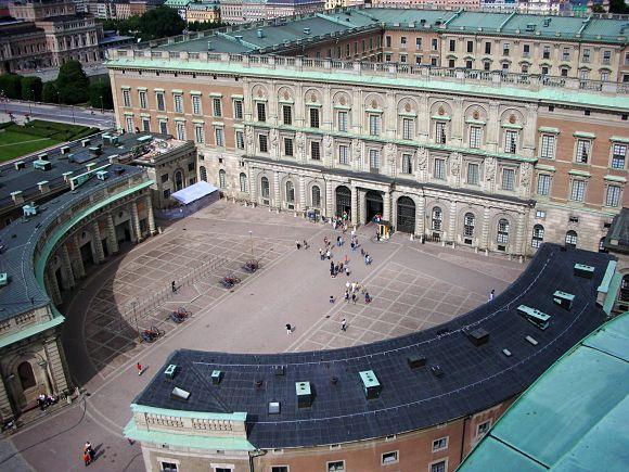 Panorámica del Palacio Real de Estocolmo vista desde el aire, Suecia