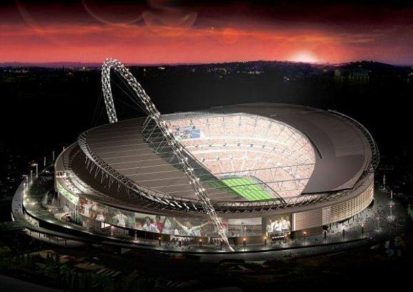 Vista aérea del nuevo estadio de fútbol de Wembley