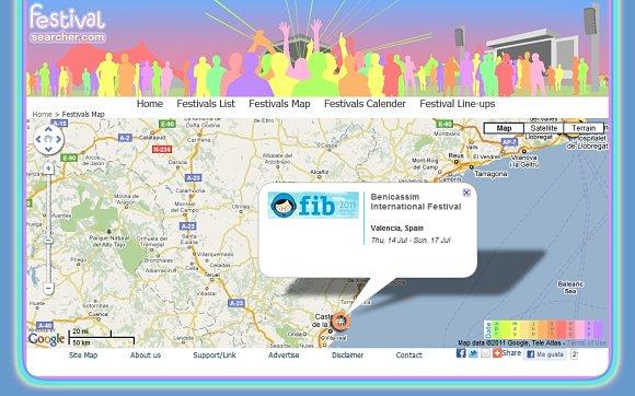 Al clicar sobre uno de los círculos de colores, obtendremos información del festival musical