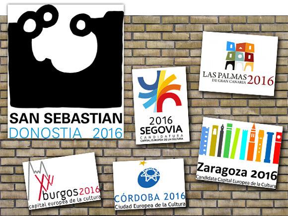 Imagen de los iconos que representaron a las seis ciudades españolas candidatas