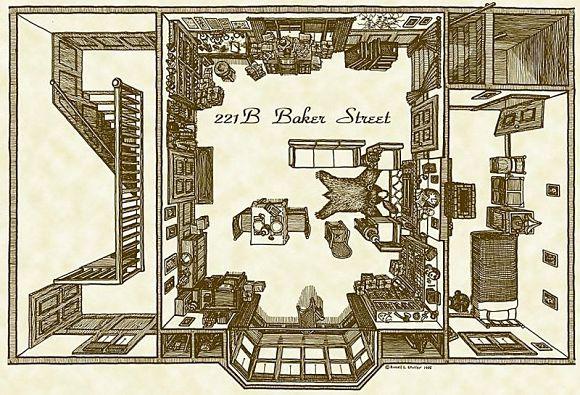 Plano de la vivienda del detective Sherlock Holmes en el 221B de Baker Street
