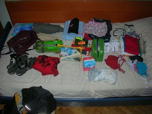 Ejemplo de equipaje para viajar en InterRail por Europa