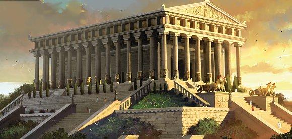 Recreación de El templo de Artemisa, una de las 7 Maravillas del Mundo Antiguo