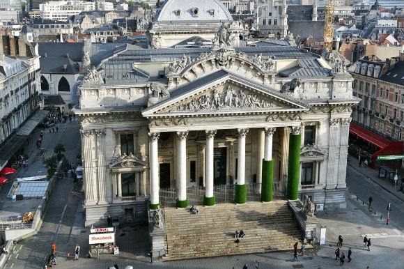 Vista aérea del edificio de la Bolsa de valores de Bruselas