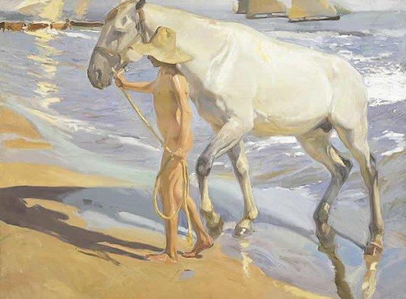 En el cuadro de El baño del caballo vemos la pasión de Sorolla por el Mediterráneo
