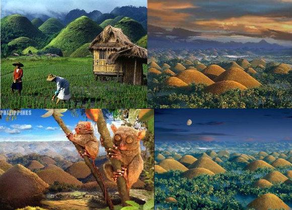 Mosaico con los paisajes de las Colinas de Chocolate de Filipinas y sus casas de bambú