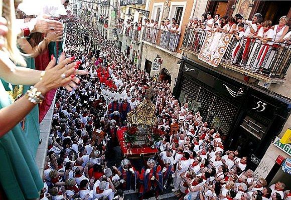 Vista aérea de la procesión de San Fermín el día 7 de julio