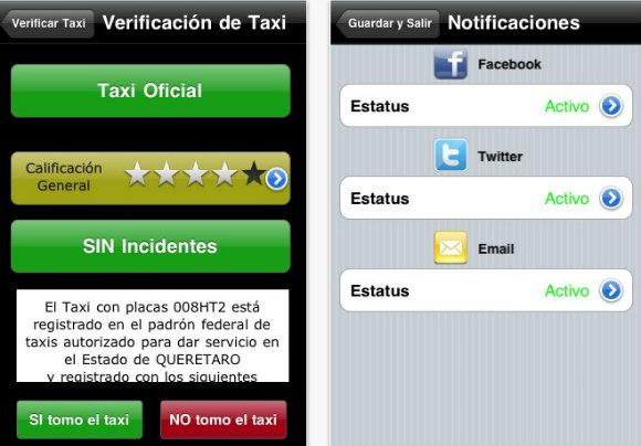 Pantallazos de Taxiaviso, una aplicación viajera para Android y dispositivos Apple en México D.F.