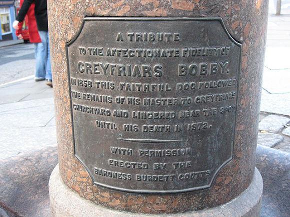 Bajo la estatua de Bobby podremos leer una breve inscripción donde explica la historia de tan leal can