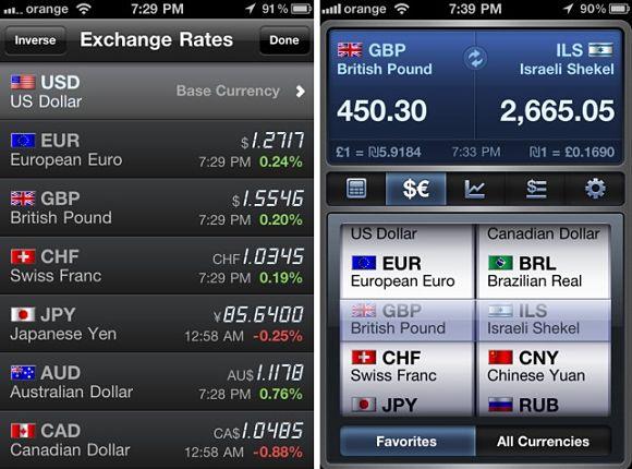 Imagen de lo que nos podemos encontrar con la aplicación de conversión de moneda iCurrencyPad