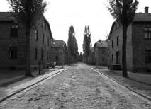 Bloques atravesados por una calle muda dentro del campo de concentración de Auschwitz I