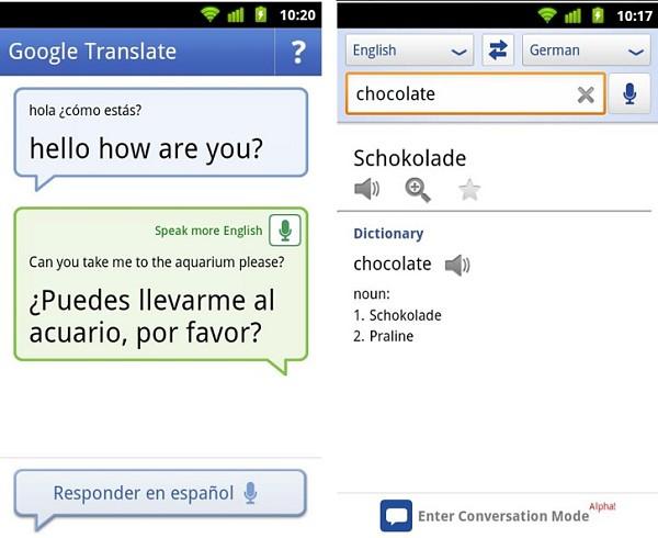 Pantallazos modo conversación Google Translate Android