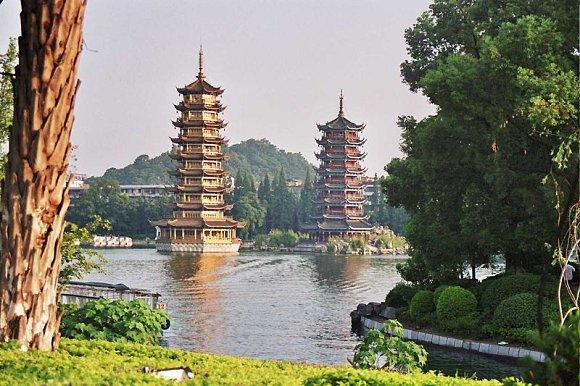 Pagodas situadas en el lago Shanhu de Guilin