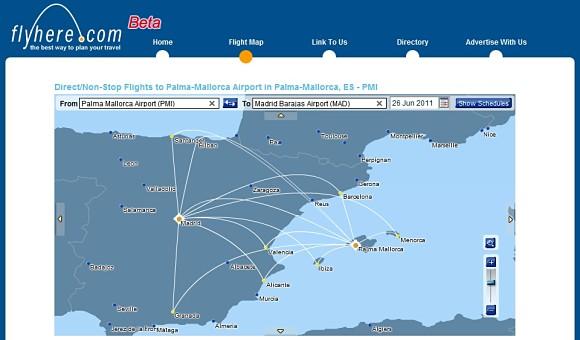 Flyhere nos muestra, a través de su detallado mapamundi, las diferentes opciones a la hora de volar, con la intención de evitar escalas durante el viaje