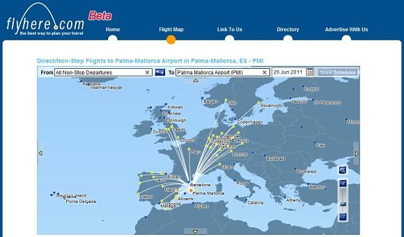 Flyhere nos permite conocer qué ruta es la más adecuada para nuestro vuelo, evitando así pérdidas de tiempo en las molestas escalas entre aeropuertos
