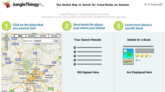 JungleThingy nos permite planificar nuestros viajes por la Red buscando libros y guías de viaje