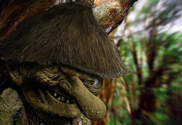Representación de Trauco, un personaje mitológico de Chile