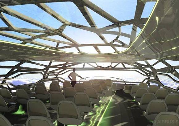 Lo más llamativo del avión del futuro será su techo panorámico transparente