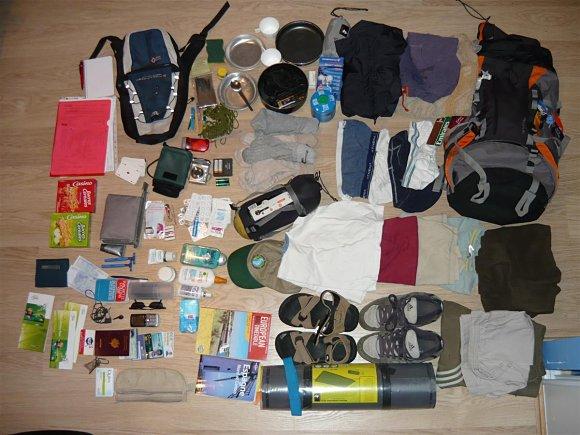 Ejemplo de un equipaje ordenado para viajar en interRail