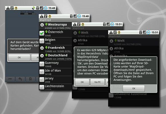 Aplicación para viajeros Mapdroyd de Android