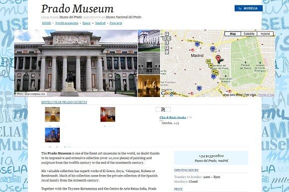 En Muselia encontraremos fotografías, localización vía Google Maps, horarios y precios de cada museo