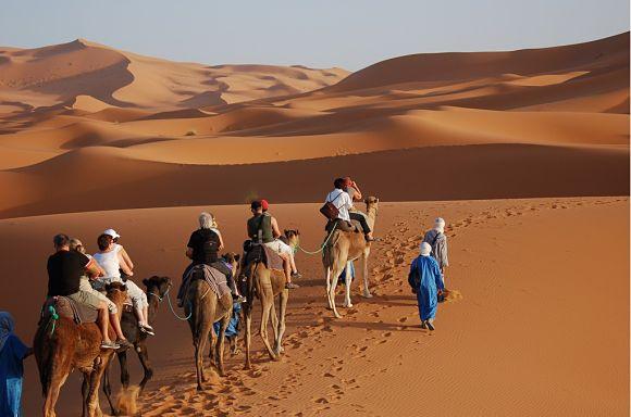 Para llegar al campamento bereber donde pasaremos la noche, debemos hacer el trayecto en camello