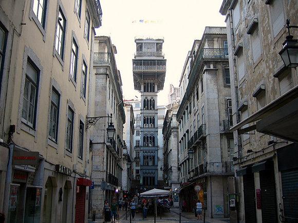 Elevador De Santa Justa Una Bonita Vista Panorámica De Lisboa