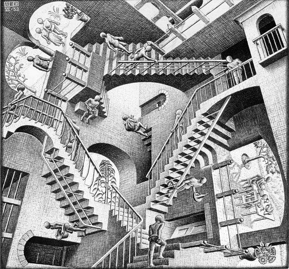 Las litografías de M.C. Escher recuerdan la escalonada estructura del pozo de Chand Baori