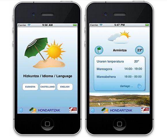 La aplicación para el móvil iHondartza está disponible en tres idiomas: euskera, castellano e inglés