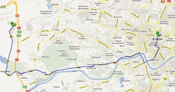 Itinerario aeropuerto Cracovia hasta centro ciudad